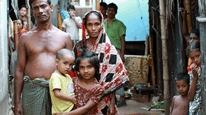 45 year old Shahid lives with his wife and children in a tiny room in the slums of Dhaka.